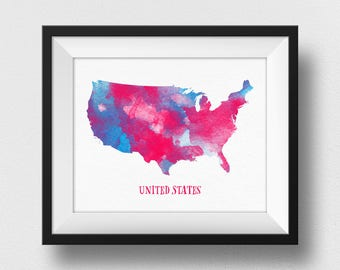 US Map Print, USA Map Print, United States Map Poster, Map Of USA Wall Art, Nursery Decor, Watercolour Map, Kids Room Decor (706)