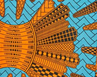 Chevron Spiked Turquoise and Orange Wax Prints African Ankara Fabric Per Yard