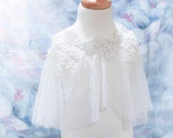 Flower girl cape,girl shrug,girl capalet,lace kids cape,