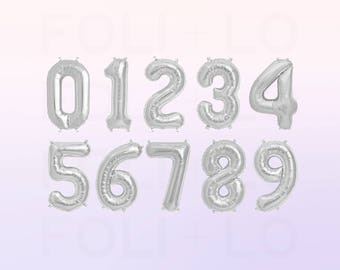 CUSTOM Number Balloons | Silver Number Balloons | Metallic Number Balloons | Silver Party Decorations
