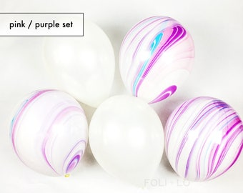 MARBLE BALLOONS | Unicorn Theme Balloons | MIXED Pink and Purple Color Theme Party | Mermaid Party Theme | Under the Sea Theme | Set of 5