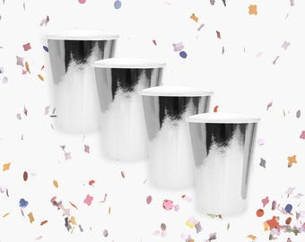 Silver Cups | Metallic Silver Cups | Silver Party Decoration | Silver Party Theme | Size 12oz | Set of 8
