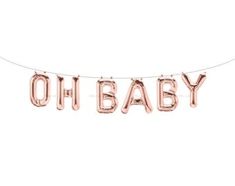 OH BABY Rose Gold Letter Balloons | Metallic Letter Balloons | Rose Gold Party Decorations