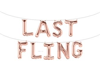 LAST FLING Rose Gold Letter Balloons | Metallic Letter Balloons | Rose Gold Party Decorations
