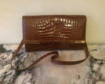 ORIGINAL Ted Lapidus Fake Crocodile Handbag - BOHO BOHEMIAN Seventies - 1960s 1970s