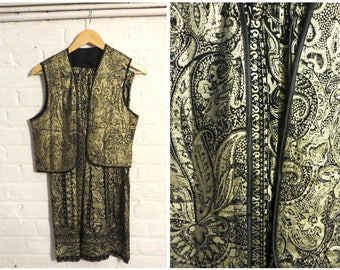 1970s vintage black and gold set ( Waistcoat Vest and Maxi Skirt) with Paisley Cashmere Print - UK 8 EU 36 US 4