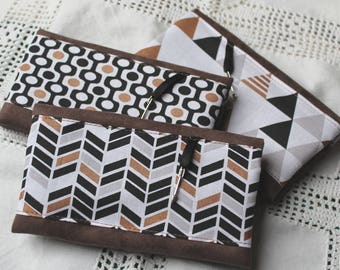 Checkbook suede and pattern Scandinavian/Native American brown black and white copper