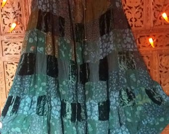 green velvet heavy gauzy patchwork hippie skirt