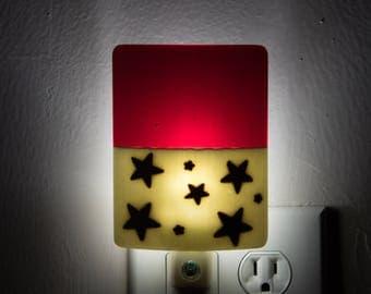 Red Night Light - Star Pattern Plug In Night Light - LED Bulb - Boys Night Light - Night Lighting - NIght Lamp - Bedroom Night LIght - 3894