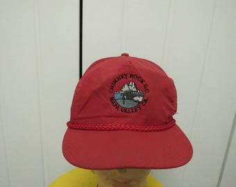 Rare Vintage Chimney Rock G.C Napa Valley CA Big Logo Spell Out Cap Hat Free size fit all