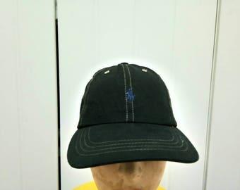 Rare Vintage POLO RALPH LAUREN Leather Adjustable Cap Hat Free Size Fit all