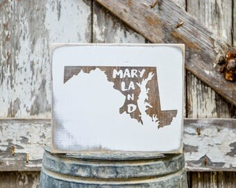 Maryland Wood State Sign   Rustic Decor   Wood Sign   Country Home   Wall Hanging   Farmhouse Decor   Whitewash   Home State Sign