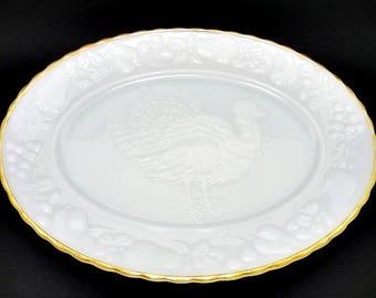 Anchor Hocking Milk Glass Turkey Platter, Milk Glass, Turkey Platter, Milk Glass Platter, Large Oval Platter, Thanksgiving Serving Platter