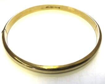 Vintage Bracelet Gold Vermeil (Vermay) on STERLING SILVER 925 Hinged Bangle Jewelry