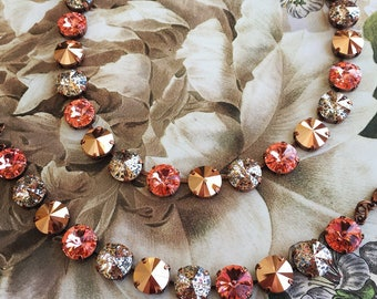 PUMPKIN SPICE - Swarovski crystal 12mm jewelry set in copper with peach rose, rose patina, and rose gold crystals