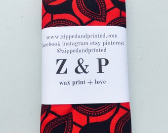 Red and Black Headwrap // African Print Headwrap // African Fabric Headwrap // Patterned Headwrap