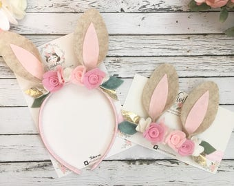 Woodland Birthday Bunny Ears- Bunny Headband- Easter Headband- Some Bunny is One, Felt Flower Headband- Bunny Ears Headband
