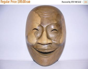 ON SALE Vintage Hand Carved Wooden Mask