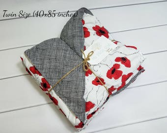 Weighted Blanket for Twin (40in x 85in) - Beautiful Poppy Cotton Print -Choose Your Back - Choose Your Weight - Adult Weighted Blanket
