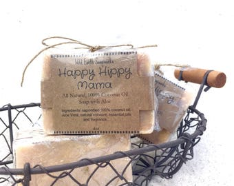 Sale!! Happy Hippy Mama 100% Coconut Oil, All Natural Handcrafted Soap with Aloe Vera