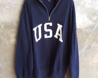Vintage Polo Sport Half Zip Sweater Polo USA polo 1992 Size M