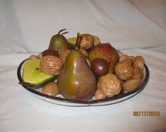 Vintage Plastic Fruit and Nuts..Pears, Walnuts, Almonds, Peanuts and Chestnuts Without Plate