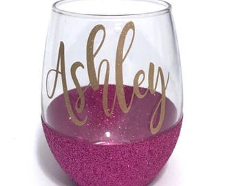 glitter wine glass etsy