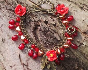 Gypsy Anklet, Bohemian Anklet, Boho Anklet, Gypsy Charm Anklet, Gypsy Ankle Bracelet, Bohemian Ankle Bracelet, Flower Anklet, Roses Anklet