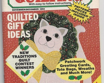 Vintage Creative Quilting Magazine November/December 1992 Easy to Follow Instructions.  Quilted Gift Ideas Pattern Pieces Included