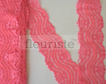 New Elastic Lace, Lace Ribbon Stretch Lace, Elastic Lace Trim, Lace by the yard, Lace Trim, Stretchy Lace Elastic, 2.25 inch, Coral Lace