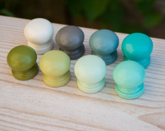 Set of 8 hand painted ombre dresser drawer pulls knobs, muted colors
