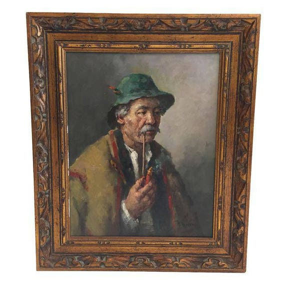 "Hungarian Artist Painter H. Horvath ""The Man With The Pipe"""