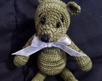 Oliver the hand crocheted miniture bear collectable.