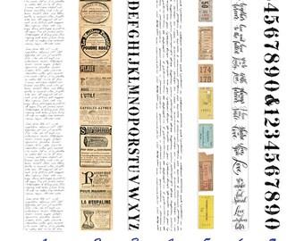 Retro Series Tape, Gothic, Newspaper, Alphabet, Number, Stampe, Stationery