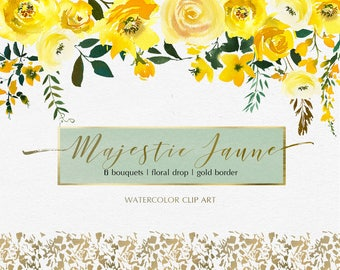 Yellow Watercolor Flowers Peonies Roses Clipart Set Wedding Floral Bouquets Clip Art Digital Florals DIY Invitation Free Commercial Use