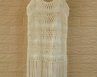 Hippie Fringe Crochet Vest Music Festival Top Beach Cover Up