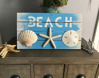 Wood Beach Signs, Bathroom Decor, Wood Nautical Decor, Wood Coastal Decor, Seashell Decor