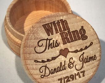 With This Ring, Wedding Ring Box, Ring Bearer Box, Keepsake, Jewelry Box, Wood Box, Rustic Ring Box, Wedding, Wooden Trinket Box