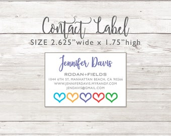 Contact Information Labels -  Rodan and Fields