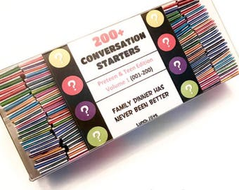 200+ Conversation Starters (#1-200) In a plastic box what if would you rather family conversation ice breaker journal prompts