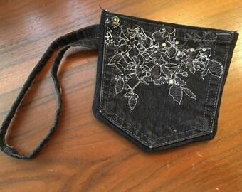 Wristlet Bag, Black Wristlet, Small Denim Purse, Upcycled Denim Bag, Upcycled Bag, Denim Wristlet, Purse Insert, Denim Clutch, One of a Kind
