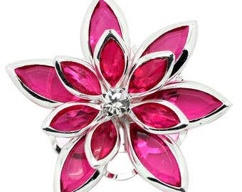 Applique color FUCHSIA silver plated, rhinestone and PVC Lily or connector