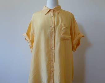 sunshine yellow oversized silk blouse