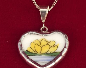 Broken china Heart Pendant -- #30,049