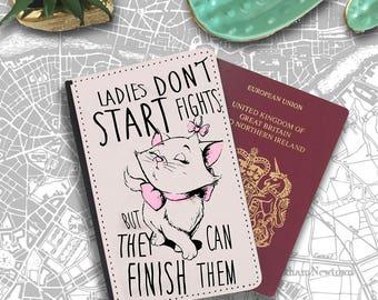 Ladies Dont Fight Quote Marie Disney Cat Passport Holder Travel Flip Cover Case PT047