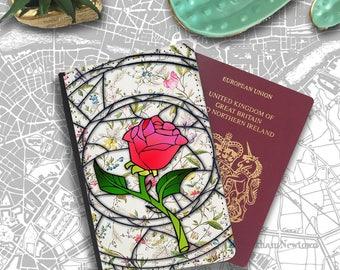 Stained Glass Enchanted Rose Beauty Beast Disney Passport Holder Travel Flip Cover Case PT116