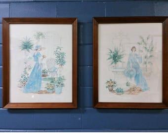 Vintage Mid Century Wall Art Prints Blue Ladies Frames Bedroom Art Deco