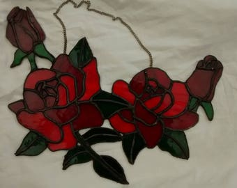 Red Roses in Bloom. Stained glass suncatcher.