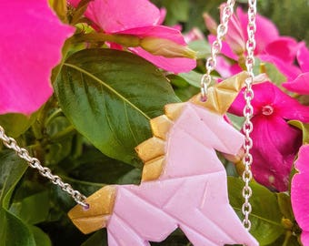 super Unicorn pink and gold necklace