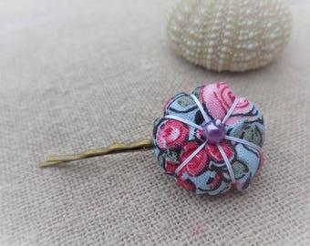 Japanese flower floral hair clip pink blue 2.2 cm
